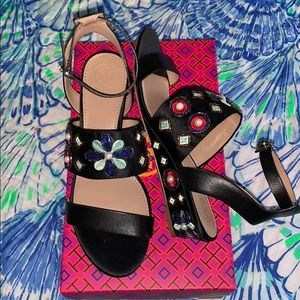 NIB Tory Burch Estella Embellished Wedge Sandals 8